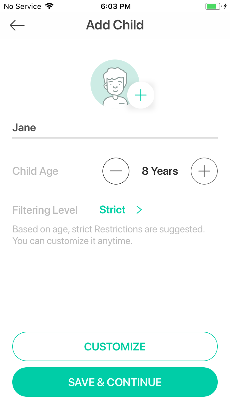 Setup a child for parental controls