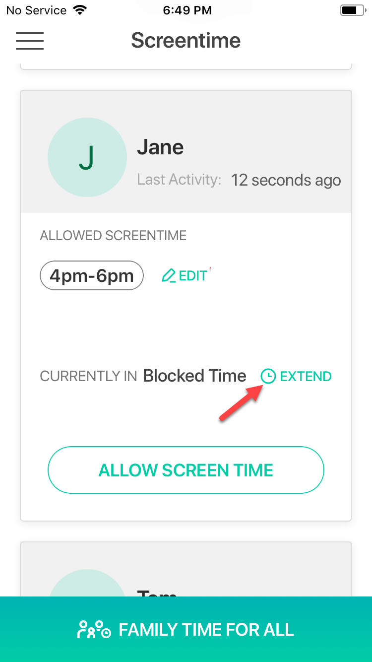 Extend current screentime restriction