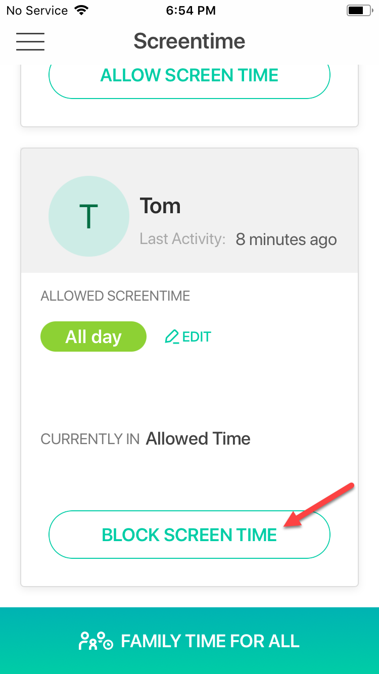 Block screen time instantly