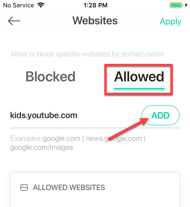 add allowed websites