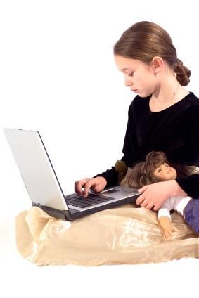child typing