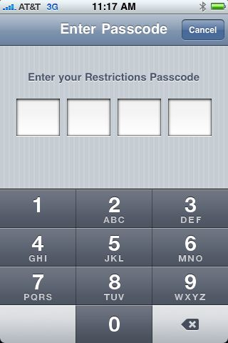 Enter restrictions passcode