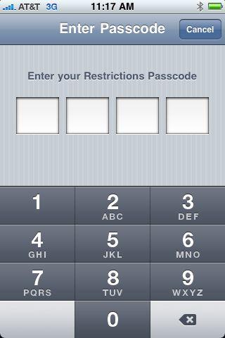 Enter restrictions passcode
