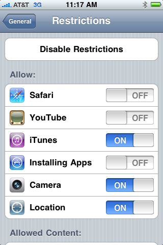 Restrictions screen
