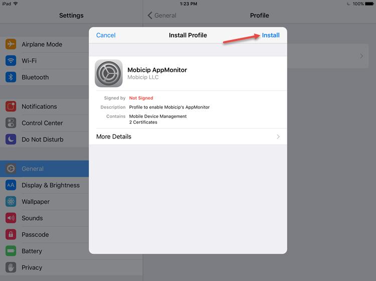 Install profile screenshot