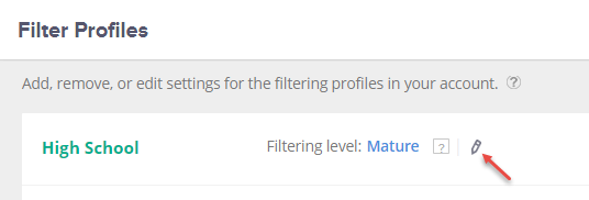 Edit filtering level icon