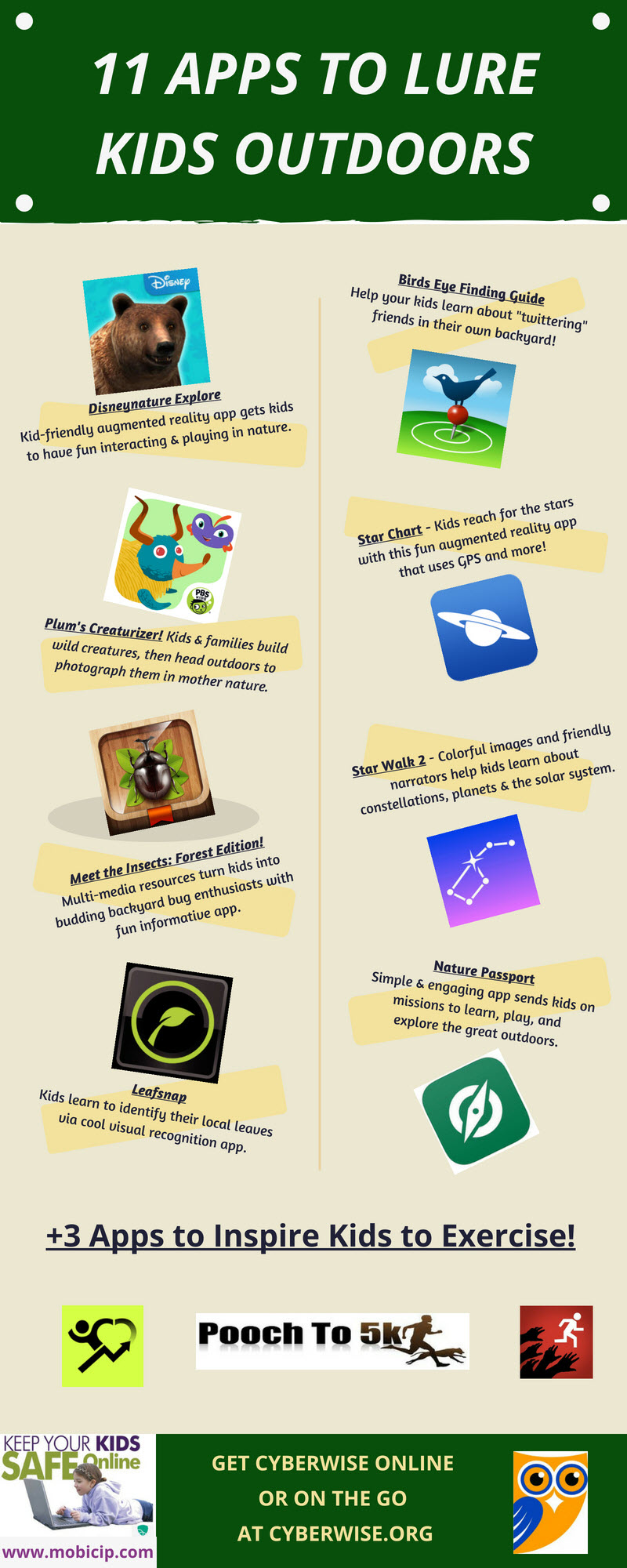 Infographic on how to encourage kids to spend time outdoors using apps