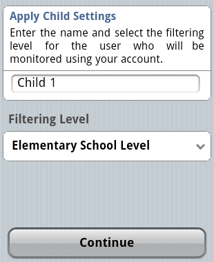 Create child user screen