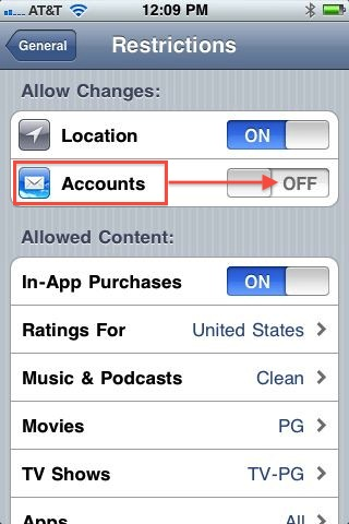 iOS 4.2 Screenshot to disable email