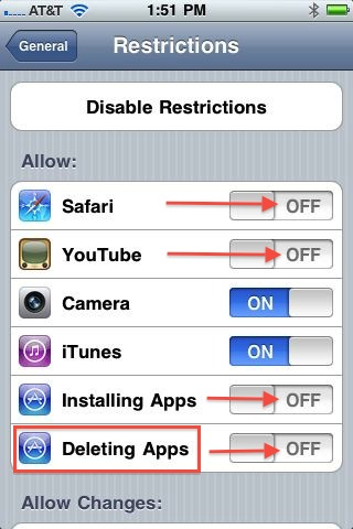 iOS 4.2 Restrictions Screenshot
