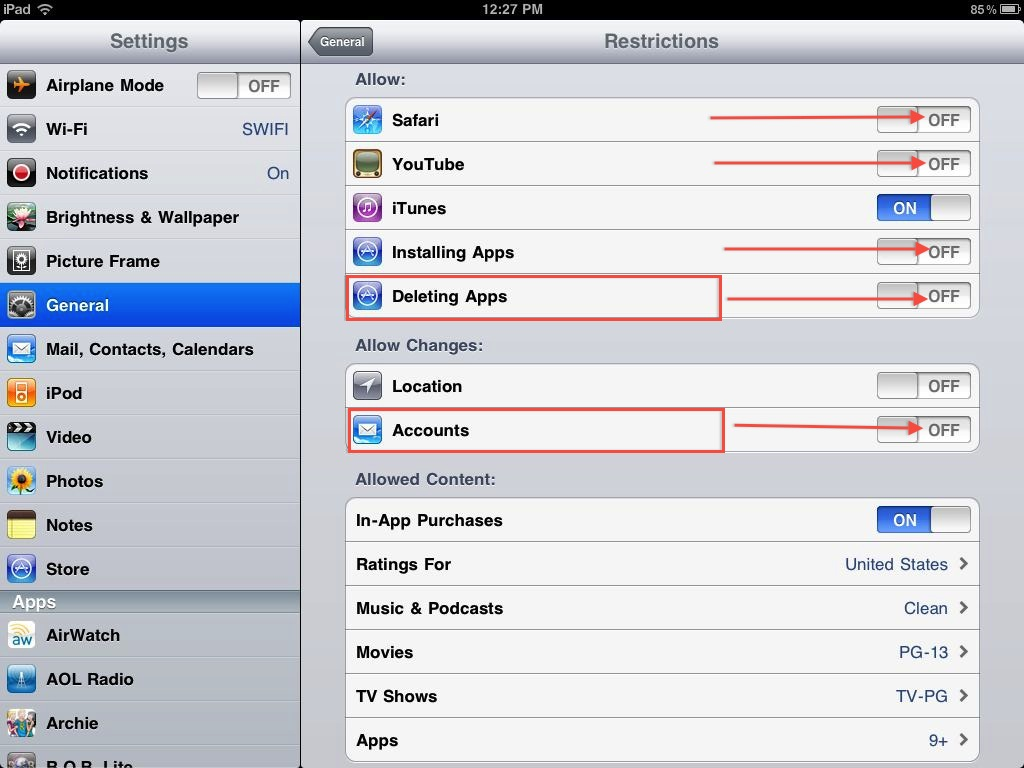 iPad Restrictions iOS 4.2 Updates