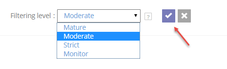 Select filtering level