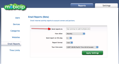 Setup Mobicip email reports