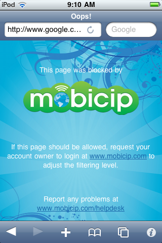 Mobicip Blocked content